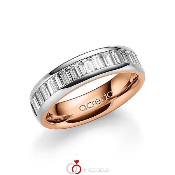 bicolor Trauring/Ehering in außen Platin 950 , innen Rotgold 750 mit zus. 1,68 ct. Baguette-Diamant tw, vs von acredo - A-1552-11