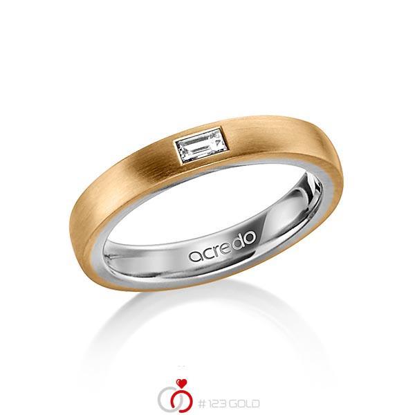 bicolor Trauring/Ehering in aussen Roségold 585 , innen Graugold 585 mit zus. 0,15 ct. Baguette-Diamant tw, vs von acredo - A-1478-9
