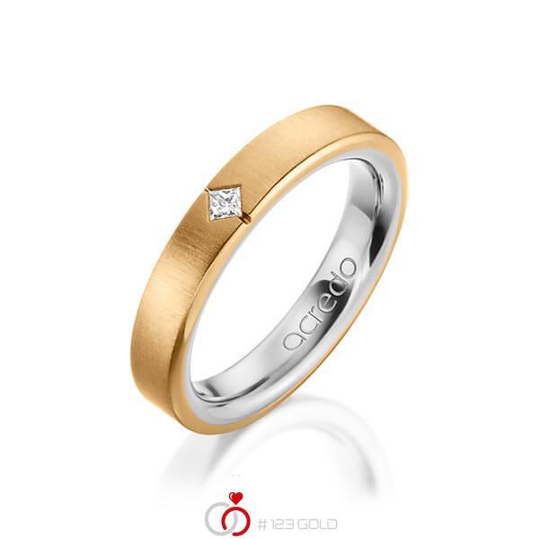 bicolor Trauring/Ehering in außen Roségold 750 , innen Platin 950 mit zus. 0,05 ct. Prinzess-Diamant tw, si von acredo - A-1479-12