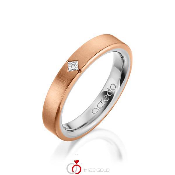 bicolor Trauring/Ehering in außen Rotgold 750 , innen Platin 950 mit zus. 0,05 ct. Prinzess-Diamant tw, si von acredo - A-1479-14