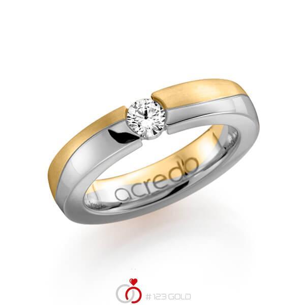 bicolor Trauring/Ehering in Gelbgold 585 Weissgold 585 mit 0,3 ct. Brillant tw, si von acredo - A-1119-5