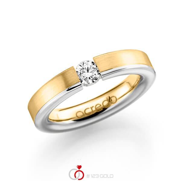 bicolor Trauring/Ehering in Gelbgold 585 Weißgold 585 mit 0,3 ct. Brillant tw, si von acredo - A-1121-5