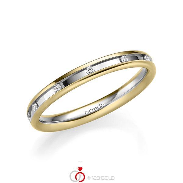 bicolor Trauring/Ehering in Gelbgold 585 Weißgold 585 mit zus. 0,11 ct. Brillant tw, si von acredo - A-2207-2
