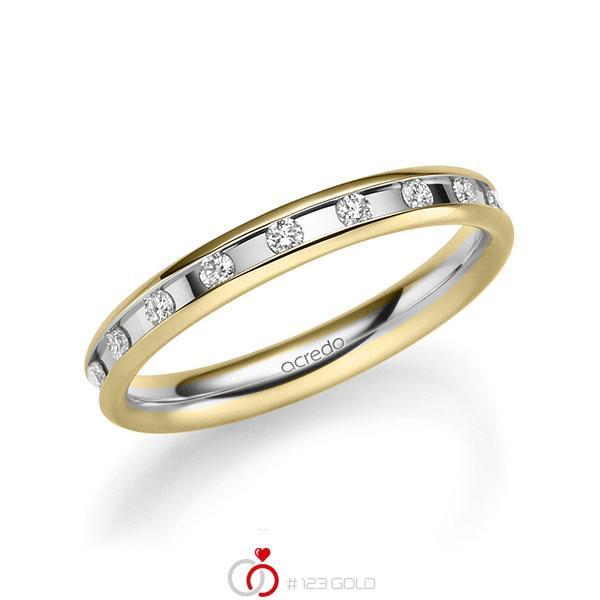 bicolor Trauring/Ehering in Gelbgold 585 Weißgold 585 mit zus. 0,18 ct. Brillant tw, si von acredo - A-2217-8
