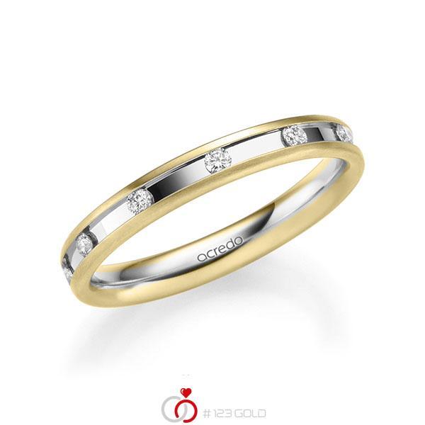 bicolor Trauring/Ehering in Gelbgold 585 Weißgold 585 mit zus. 0,22 ct. Brillant tw, si von acredo - A-2205-1