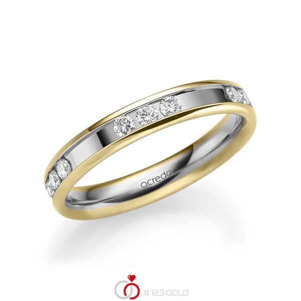 bicolor Trauring/Ehering in Gelbgold 585 Weissgold 585 mit zus. 0,6 ct. Brillant tw, si von acredo - A-2212-1