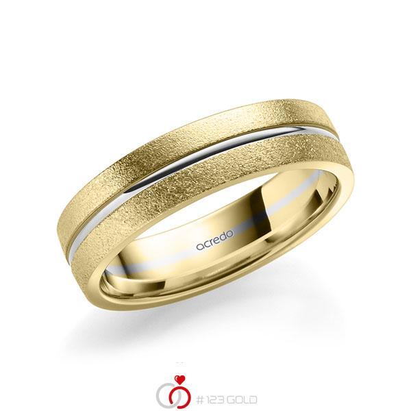 bicolor Trauring/Ehering in Gelbgold 585 Weissgold 585 von acredo - A-2187-11