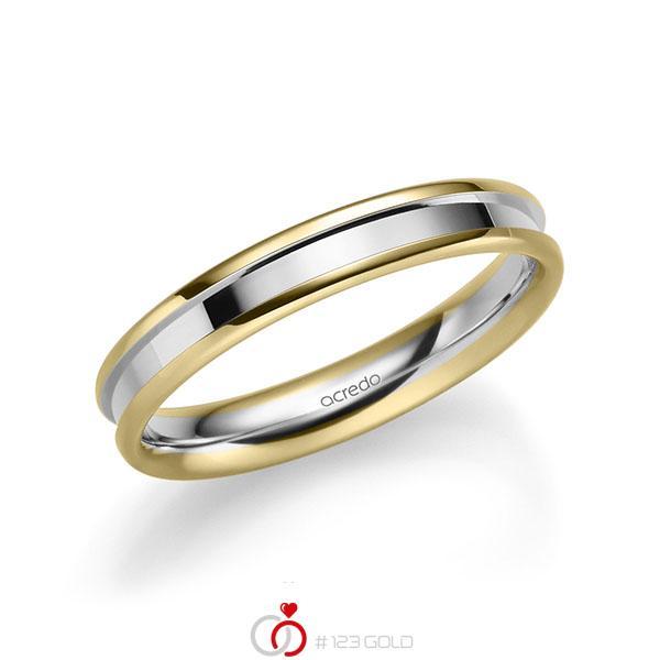 bicolor Trauring/Ehering in Gelbgold 585 Weissgold 585 von acredo - A-2208-2