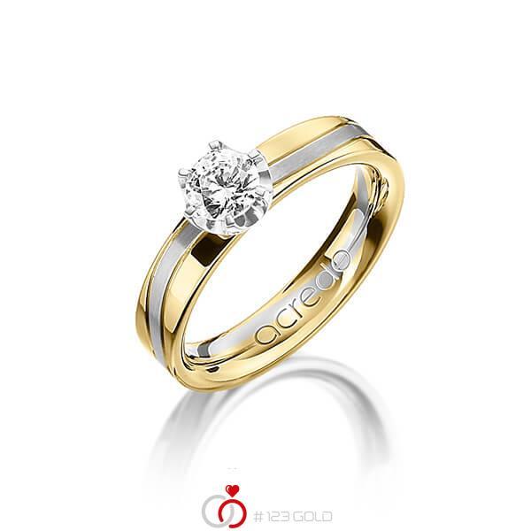 bicolor Trauring/Ehering in Gelbgold 750 Graugold 750 mit 0,4 ct. Brillant tw, si von acredo - A-1210-8