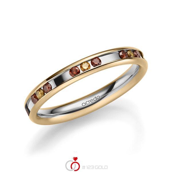 bicolor Trauring/Ehering in Roségold 585 Graugold 585 mit zus. 0,42 ct. Brillant Red Cherry cognac von acredo - A-2219-1