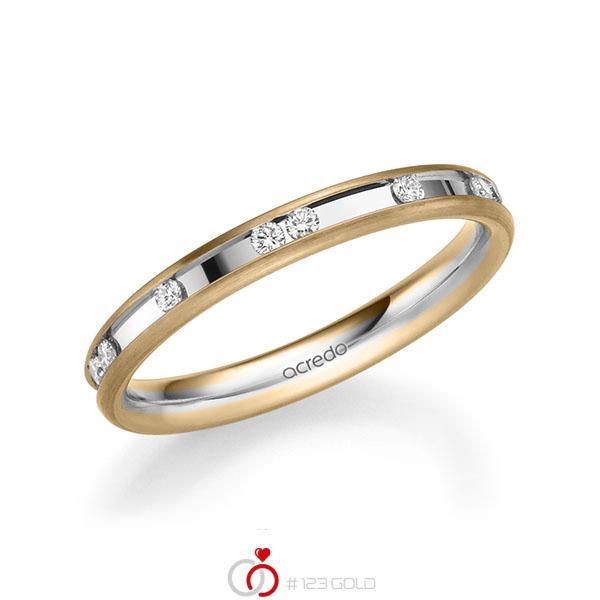 bicolor Trauring/Ehering in Roségold 585 Weißgold 585 mit zus. 0,225 ct. Brillant tw, si von acredo - A-2209-2