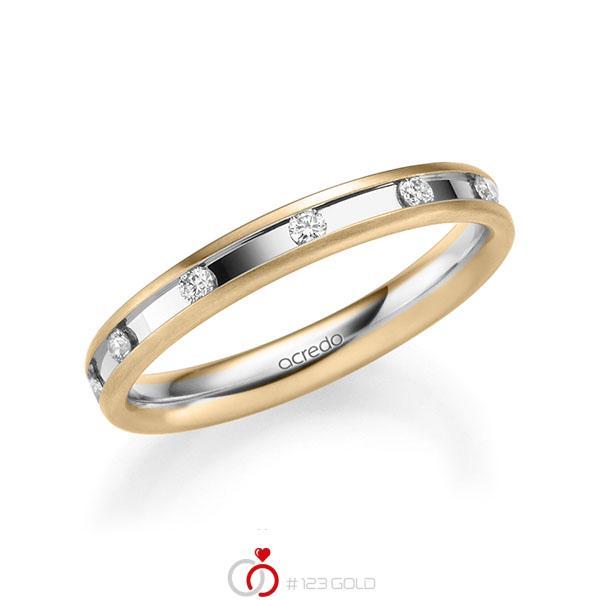 bicolor Trauring/Ehering in Roségold 585 Weißgold 585 mit zus. 0,22 ct. Brillant tw, si von acredo - A-2205-3