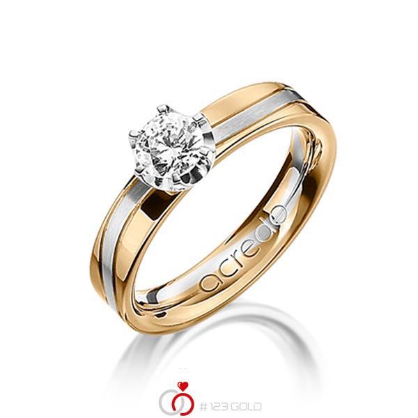 bicolor Trauring/Ehering in Roségold 750 Weißgold 750 mit 0,4 ct. Brillant tw, si von acredo - A-1210-10