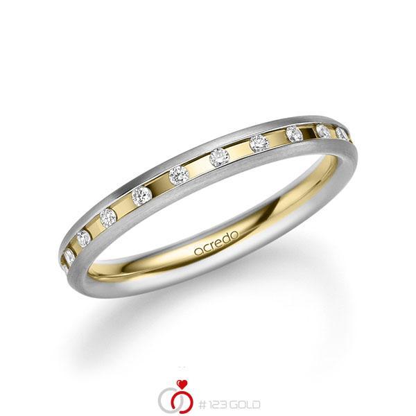 bicolor Trauring/Ehering in Weißgold 585 Gelbgold 585 mit zus. 0,22 ct. Brillant tw, si von acredo - A-2216-7