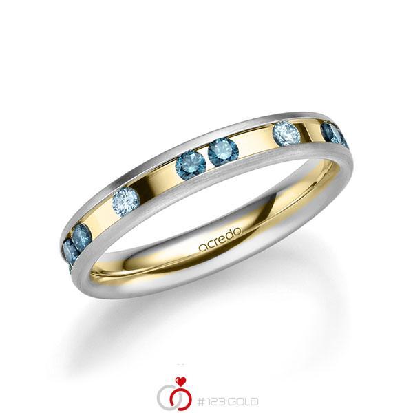 bicolor Trauring/Ehering in Weissgold 585 Gelbgold 585 mit zus. 0,6 ct. Brillant iceblue oceanblue von acredo - A-2218-6