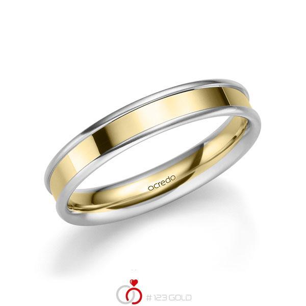 bicolor Trauring/Ehering in Weißgold 585 Gelbgold 585 von acredo - A-2211-1