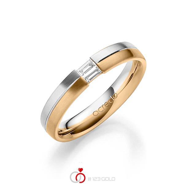 bicolor Trauring/Ehering in Weißgold 585 Roségold 585 mit zus. 0,1 ct. Baguette-Diamant tw, vs von acredo - A-1638-1