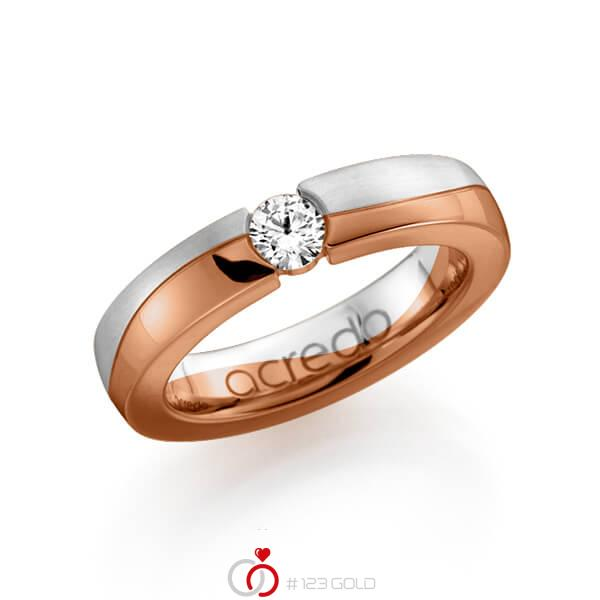 bicolor Trauring/Ehering in Weissgold 585 Rotgold 585 mit 0,3 ct. Brillant tw, si von acredo - A-1119-2