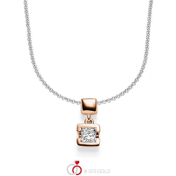 collier met hanger in roodgoud 14 kt. met in totaal 0,25 ct. Princess-Diamant tw/si van acredo - A-1610-11