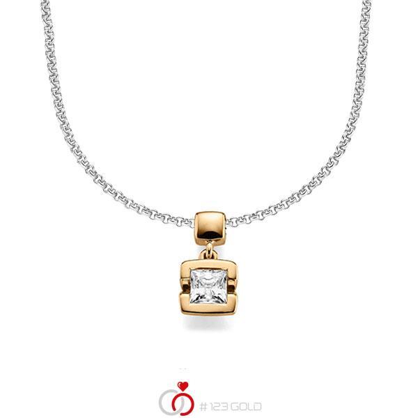 collier met hanger in roségoud 14 kt. met 0,5 ct. Princess-Diamant tw,vs van acredo - A-1610-10