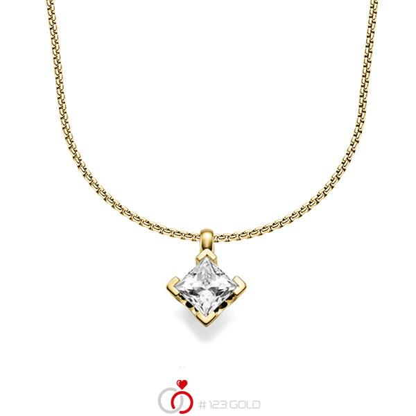 Kette mit Anhänger in Gelbgold 585 mit 1 ct. Prinzess-Diamant tw, vs von acredo - A-1546-10