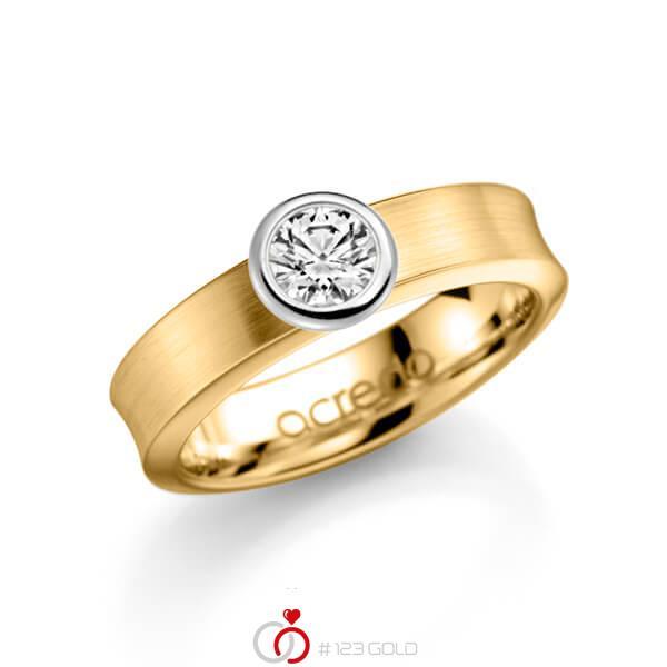 klassieke trouwring in geelgoud 14 kt. met 0,5 ct. Briljanten tw/si van acredo - A-1136-3