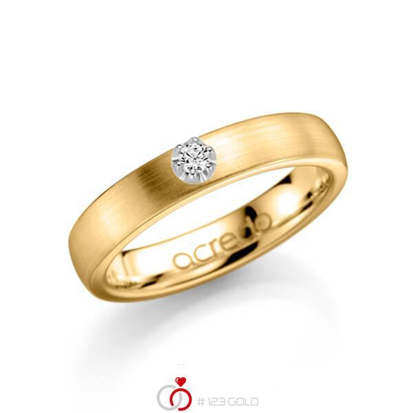 klassieke trouwring in geelgoud 14 kt. met in totaal 0,1 ct. Briljanten tw/si van acredo - A-1135-3