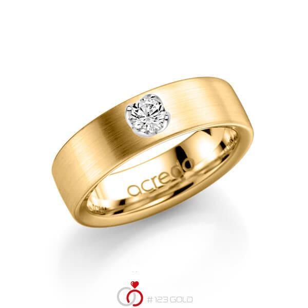 klassieke trouwring in geelgoud 14 kt. met in totaal 0,25 ct. Briljanten tw/si van acredo - A-1138-3