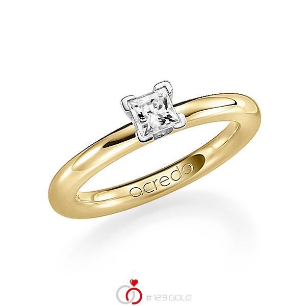 klassieke trouwring in geelgoud 18 kt. met 0,4 ct. Princess-Diamant tw,vs van acredo - A-1182-10