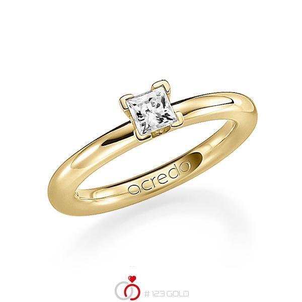 klassieke trouwring in geelgoud 18 kt. met 0,4 ct. Princess-Diamant tw,vs van acredo - A-1182-14