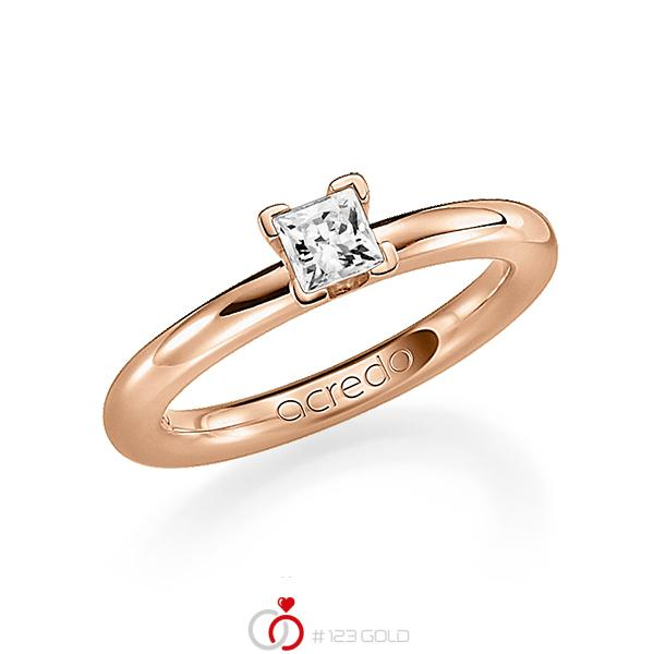 klassieke trouwring in roodgoud 18 kt. met 0,4 ct. Princess-Diamant tw,vs van acredo - A-1182-16