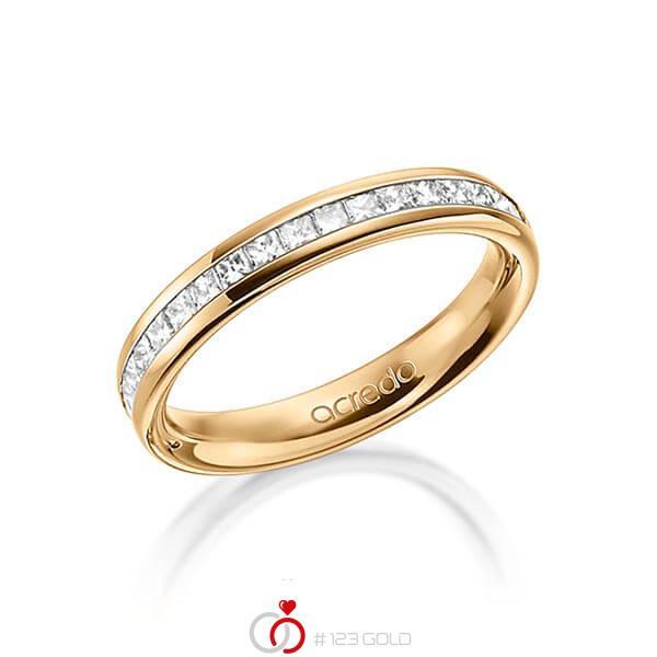 klassischer Memoire-Trauring/Ehering in außen Roségold 585 , innen Roségold 585 halbausgefasst mit zus. 0,54 ct. Prinzess-Diamant tw, si von acredo - A-1554-7