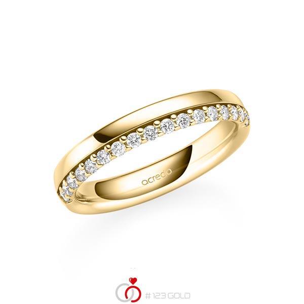 klassischer Memoire-Trauring/Ehering in Gelbgold 585 halbausgefasst mit zus. 0,255 ct. tw, si von acredo - A-2106-8