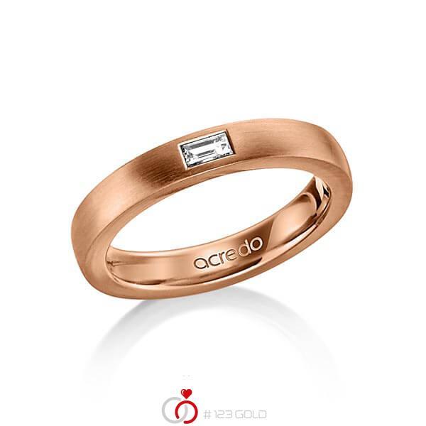 klassischer Trauring/Ehering in außen Rotgold 585 , innen Rotgold 585 mit zus. 0,15 ct. Baguette-Diamant tw, vs von acredo - A-1478-7