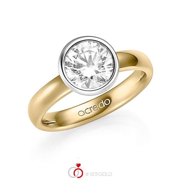 klassischer Trauring/Ehering in Gelbgold 585 mit 2 ct. Brillant tw, si von acredo - A-1354-7