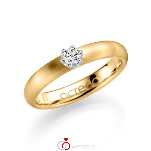 klassischer Trauring/Ehering in Gelbgold 585 mit zus. 0,15 ct. Brillant tw, si von acredo - A-1132-3
