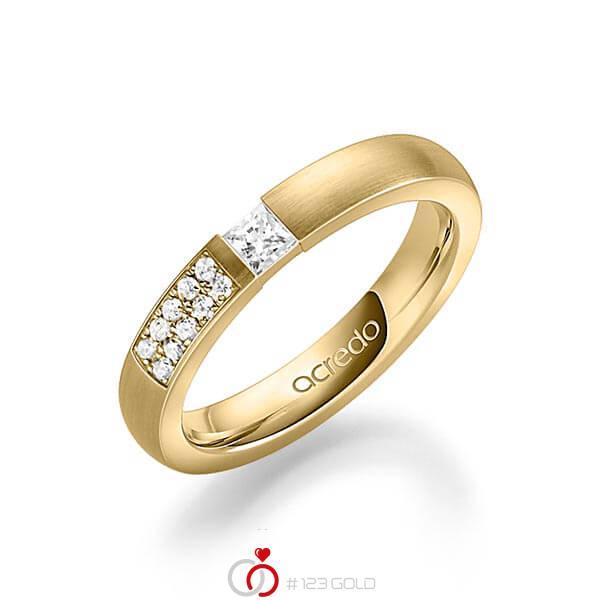 klassischer Trauring/Ehering in Gelbgold 585 mit zus. 0,25 ct. Prinzess-Diamant & Brillant tw, si von acredo - A-1636-2