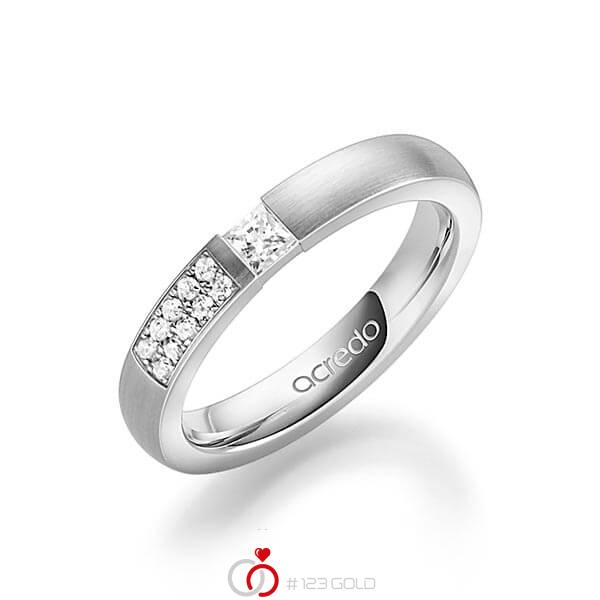 klassischer Trauring/Ehering in Graugold 585 mit zus. 0,25 ct. Prinzess-Diamant & Brillant tw, si von acredo - A-1636-3