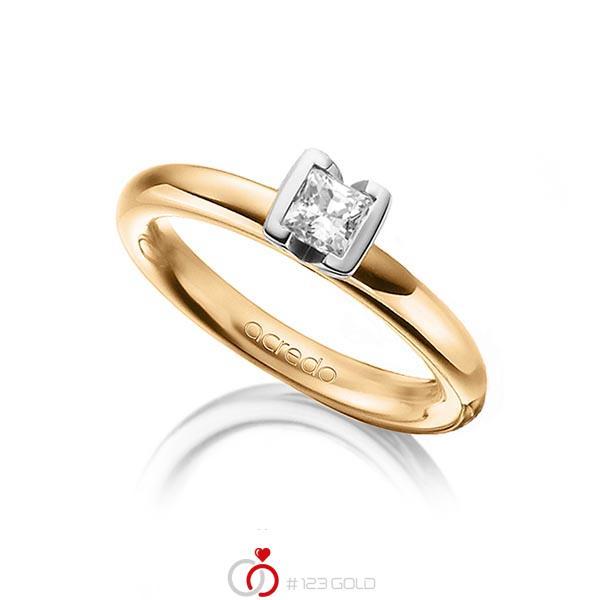 klassischer Trauring/Ehering in Roségold 585 mit 0,4 ct. Prinzess-Diamant tw, vs von acredo - A-1298-11