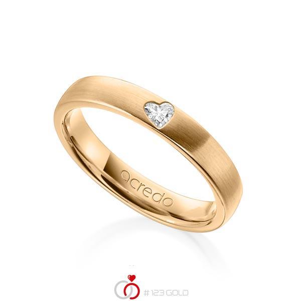 klassischer Trauring/Ehering in Roségold 585 mit zus. 0,08 ct. Herz-Diamant tw, vs von acredo - A-1242-8