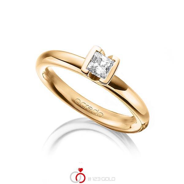 klassischer Trauring/Ehering in Roségold 750 mit 0,4 ct. Prinzess-Diamant tw, vs von acredo - A-1298-17