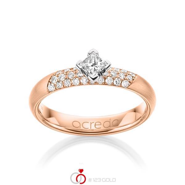 klassischer Trauring/Ehering in Rotgold 585 mit zus. 0,52 ct. Brillant & Prinzess-Diamant tw, si von acredo - A-1283-11