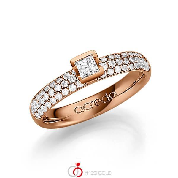 klassischer Trauring/Ehering in Rotgold 585 mit zus. 0,582 ct. Brillant & Prinzess-Diamant tw, vs tw, si von acredo - A-1249-3
