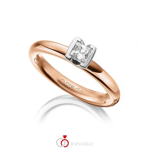 klassischer Trauring/Ehering in Rotgold 750 mit 0,4 ct. Prinzess-Diamant tw, vs von acredo - A-1298-12