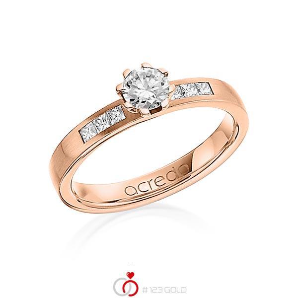 klassischer Trauring/Ehering in Rotgold 750 mit 0,4 ct. + zus. 0,18 ct. Brillant & Prinzess-Diamant tw, vs tw, si von acredo - A-1268-16