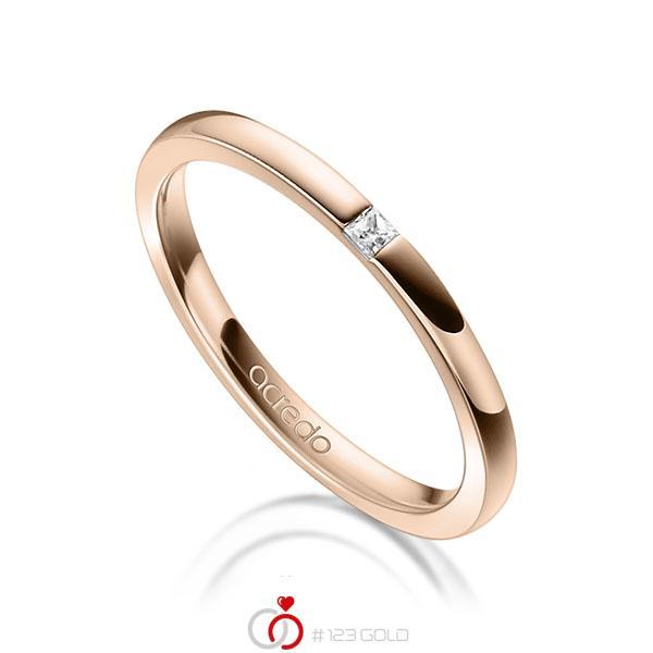 klassischer Trauring/Ehering in Rotgold 750 mit zus. 0,03 ct. Prinzess-Diamant tw, si von acredo - A-1303-10