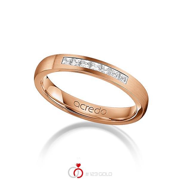 klassischer Trauring/Ehering in Rotgold 750 mit zus. 0,21 ct. Prinzess-Diamant tw, si von acredo - A-1269-10