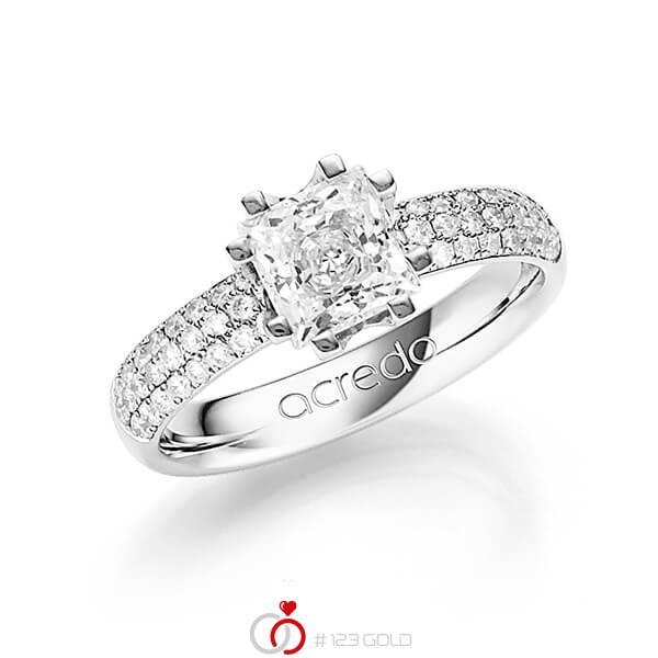 klassischer Trauring/Ehering in Weißgold 585 mit 1 ct. + zus. 0,432 ct. Prinzess-Diamant & Brillant tw, vs tw, si von acredo - A-1249-10