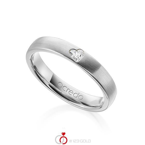 klassischer Trauring/Ehering in Weißgold 585 mit zus. 0,08 ct. Herz-Diamant tw, vs von acredo - A-1242-10