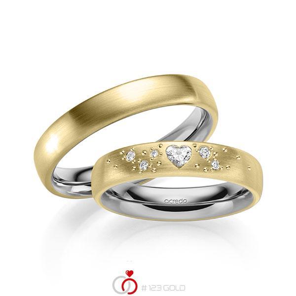 Paar bicolor Trauringe/Eheringe in außen Gelbgold 585 , innen Graugold 585 mit zus. 0,146 ct. Herz-Diamant & Brillant tw, vs tw, si von acredo - A-2131-2